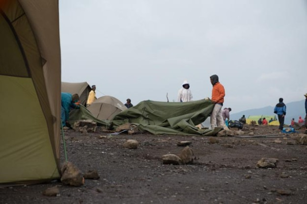 The Porters Packing up Shira Camp-Kilimanjaro